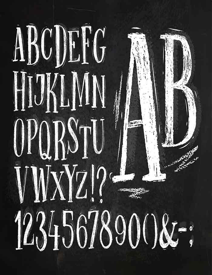 Font Pencil Vintage Alphabet Drawing With Chalk On Chalkboard Photography Backdrop J-0172