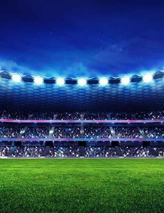 Football Field Under The Spotlight Backdrop For 2018 World Cup