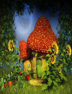Forest Night With Magic Mushroom House Photography Backdrop J-0465