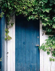 Garden Blue Wood Door White Wall Backdrop For Photography
