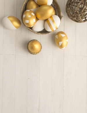 Gold Eggs On Wood Floor Background For Easter Photography Backdrop - Shop Backdrop