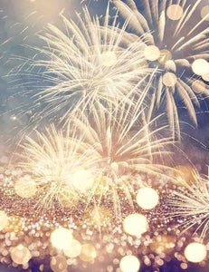Gold Firework With Gold Bokeh For New Year Photo Backdrop - Shop Backdrop