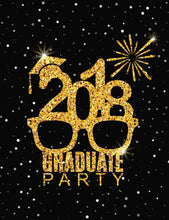 Gold Graduate In Black Background With Silver Bokeh For Party Backdrop - Shop Backdrop