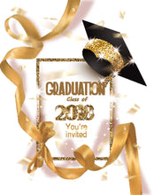 Gold Graduation With Bachelor's Cap And Ribbon For Celebration Backdrop - Shop Backdrop