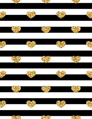Gold Hearts Printed On Black Stripes Backdrop For Photography - Shop Backdrop
