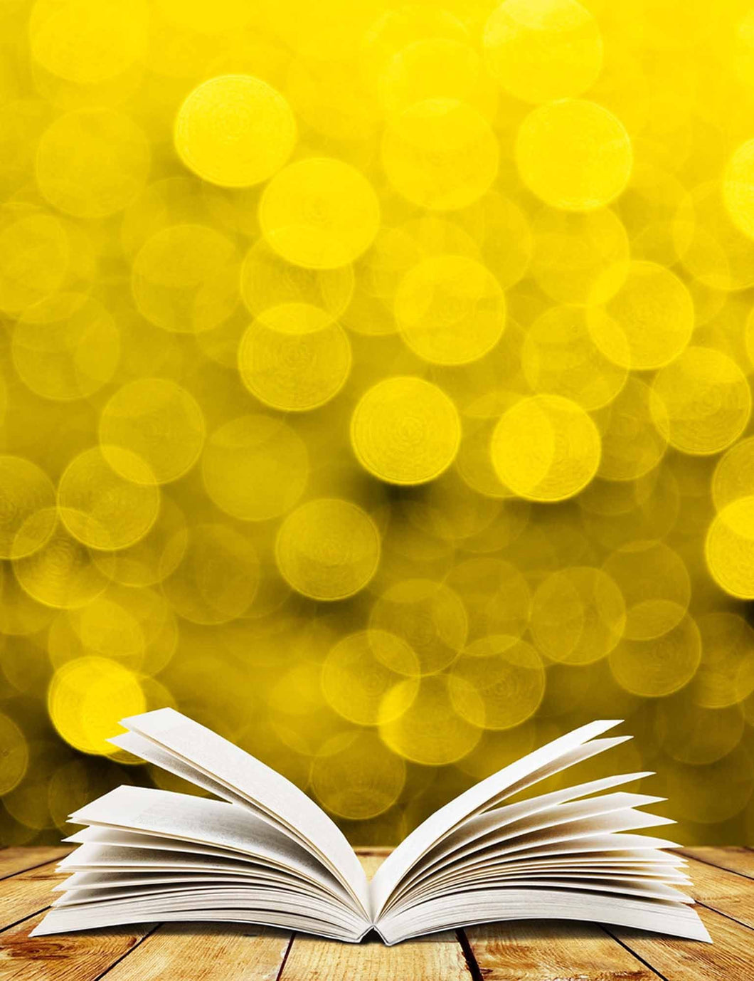Golden Bokeh Background With Wood Floor And Book Backdrop - Shop Backdrop