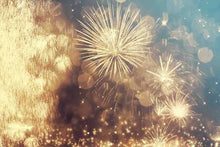 Golden Fireworks In Sky For New Year Photography Backdrop J-0176