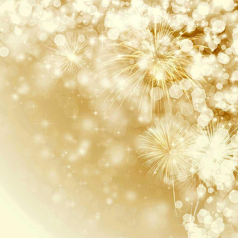 Golden Fireworks With Bokeh Sparkle For New Year Photography Backdrop J-0292
