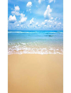 Golden Sandy Beach With Baby Blue Sea For Children Summer Holiday Backdrop F-2633