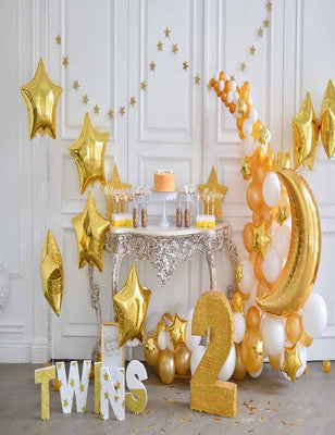 Golden  Stars And Moon Balloons For Baby Two Years Old Birthday Backdrop - Shop Backdrop