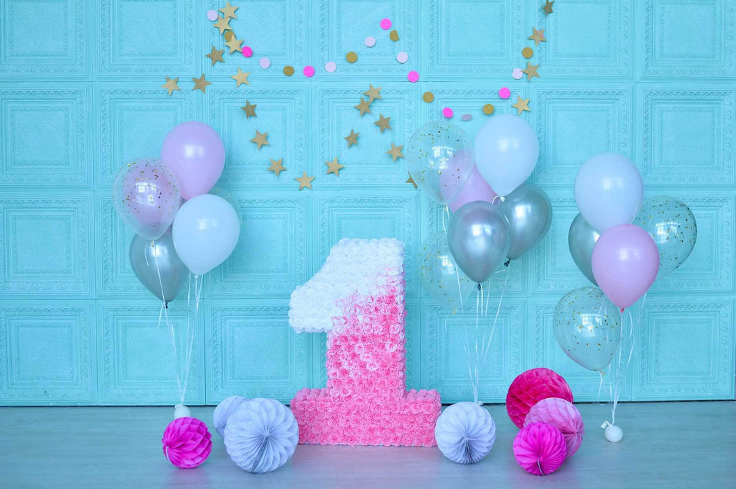 Golden Stars On Baby Blue Wall And Balloons For 1th Birthday Backdrop - Shop Backdrop