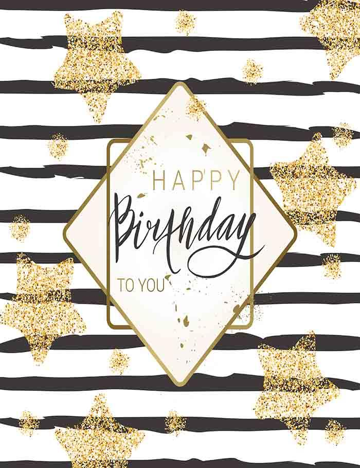 Golden Stars Painted On Black Strips For Birthday Photography Backdrop J-0018