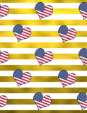 Golden Stripes With American Flags Hearts For Independence Day Backdrop