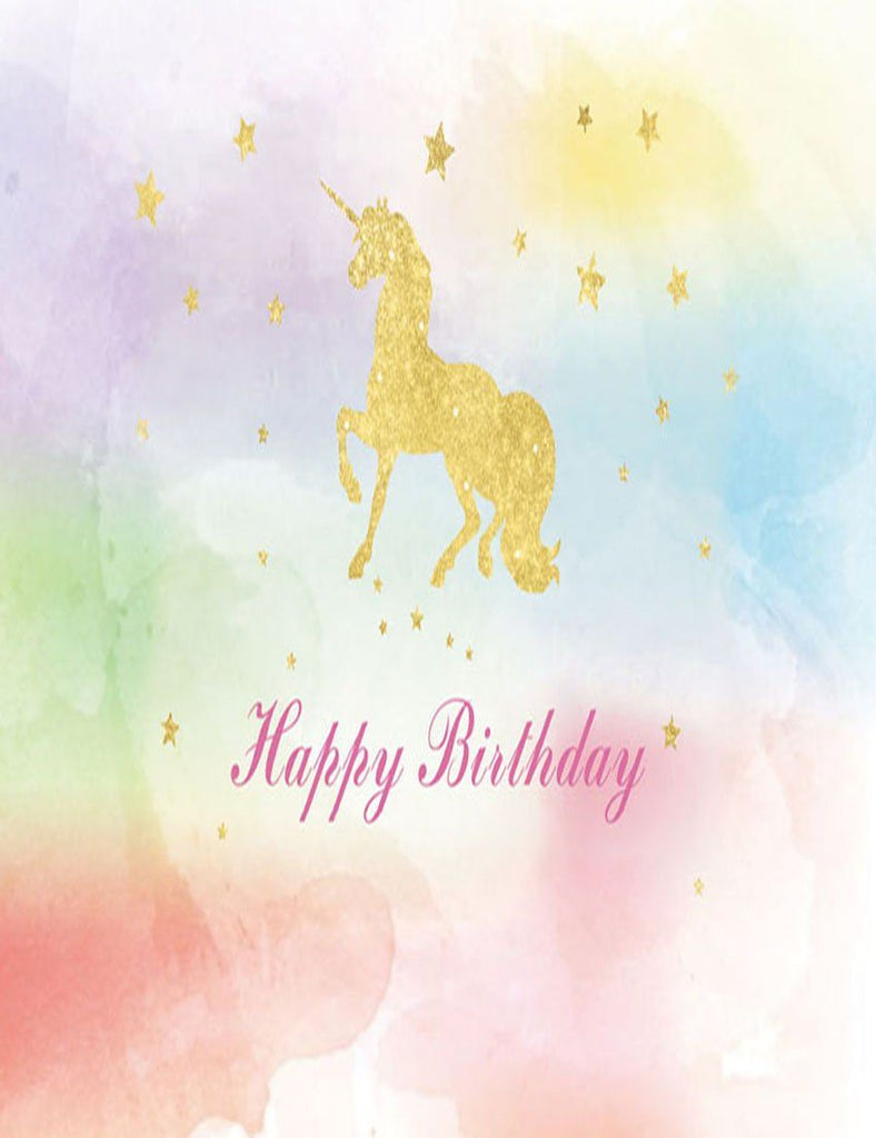 Golden Unicorn Patterned On Watercolor Background For Baby Birthday Backdrop lv-2000