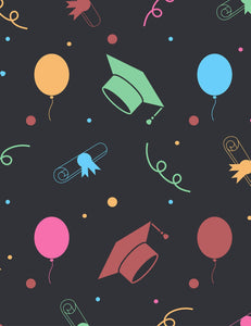 Grad Hats Balloon And Diplomas In Black Background Backdrop - Shop Backdrop