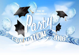 Graduation 2018 Party Bachelor Caps In Sky Backdrop - Shop Backdrop