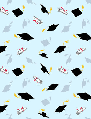 Graduation Caps And Diplomas Fly In Blue Sky Backdrop - Shop Backdrop