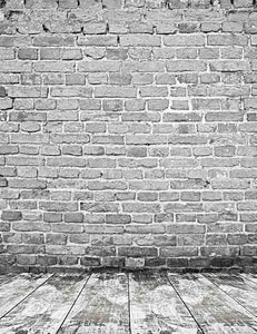 Gray Brick Wall Texture Wite Wood Floor Mat Photography Backdrop J-0318