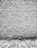 Gray Brick Wall Texture White Wood Floor Mat Photography Backdrop J-0318