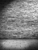 Gray Brick Wall Texture With Stone Floor Photography Backdrop  J-0322