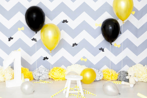 Gray Chevron Wall With Floor Colorful Balloons For 1 Birthday Photo Backdrop - Shop Backdrop