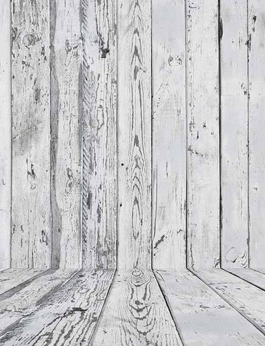 Gray White Retro Wood Floor And Wood Wall Backdrop For Photography