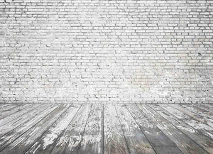 Gray White Senior Brick Wall With Wood Floor Backdrop For Photography