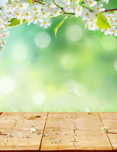 Green Bokeh In Sunlight With Floor Background For Spring Backdrop - Shop Backdrop