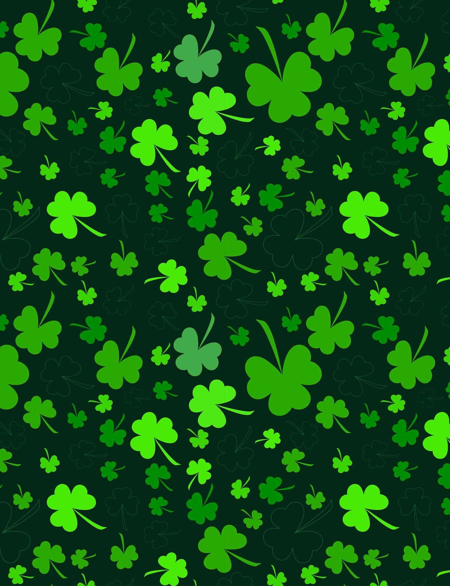 Green Clover Printed On Black Background For St Patrick S