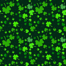 Green Clover Printed On Black Background For St Patrick's Day Backdrop - Shop Backdrop