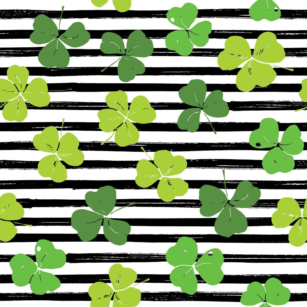 Green Clovers Draw On Black Strips For Saint Patrick's Day Photography Backdrop - Shop Backdrop