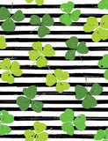Green Clovers Draw On Black Strips For Saint Patrick's Day Photography Backdrop