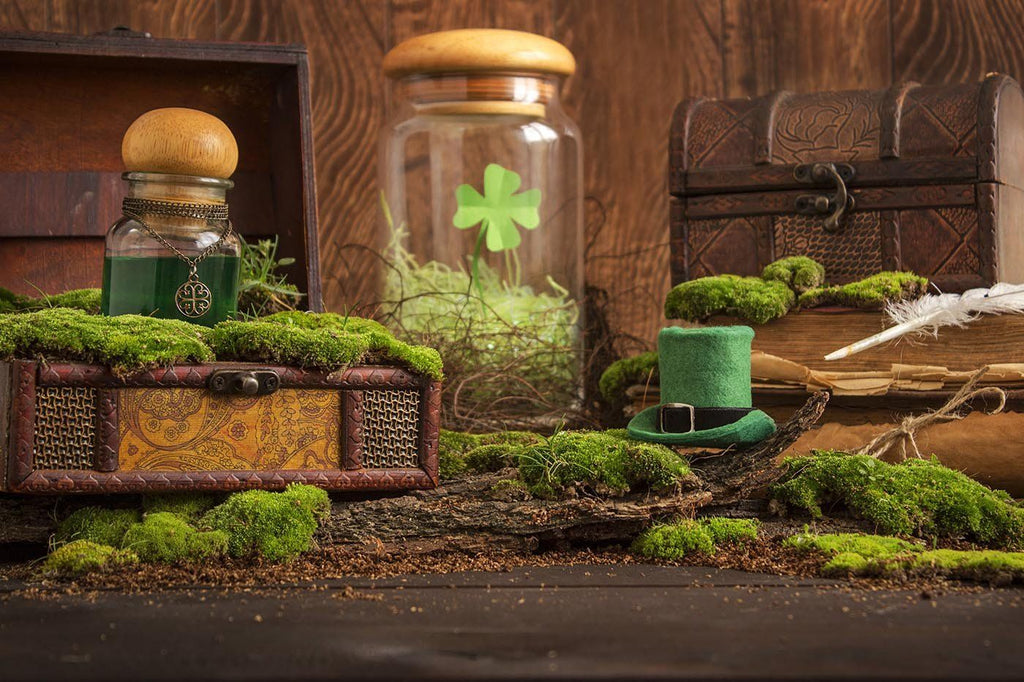 Green Potion Flask And Leprechaun Hat On Wood Table Photography Backdrop J-0692