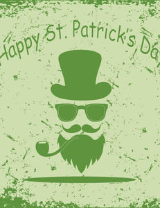 Green St.Patrick Portrait Printed On Green Background For Holiday Backdrop - Shop Backdrop