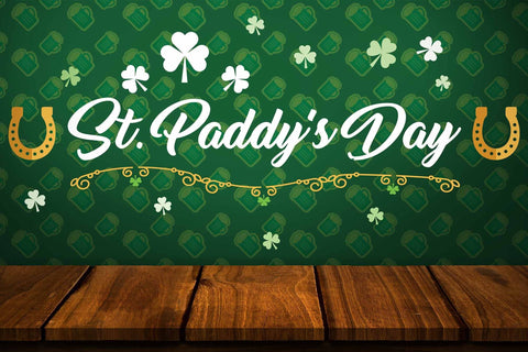 Green St.Patrick's Day Background With Wood Floor Backdrop - Shop Backdrop