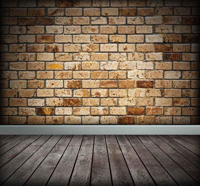 Grunge Brick Wall Texture With Old Wood Floor Photography Backdrop J-0317