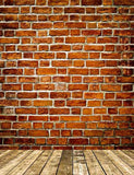 Grungy Textured Red Brick Wall With Warm Brown Wooden Floor Photography Backdrop J-0272