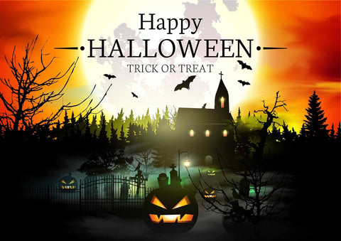 Halloween Background With Forest Castle Of Terror And Pumpkin Backdrop - Shop Backdrop