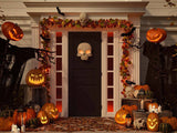 Halloween Decorated Front Door With Various size Shape Pumpkin Photography Backdrop J-0727