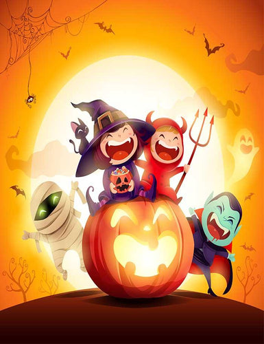 Printed Cartoon For Halloween Kids Party Photography Backdrop J-0137