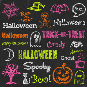 Halloween Painting On Chalkboard Photography Backdrop - Shop Backdrop