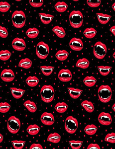 Halloween Pattern With Red Vampire Lips Photography Backdrop J-0226