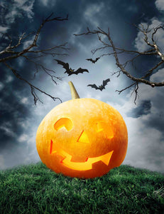 Halloween Pumpkin Lantern On Grass With Gloomy Background For Holiday Backdrop - Shop Backdrop