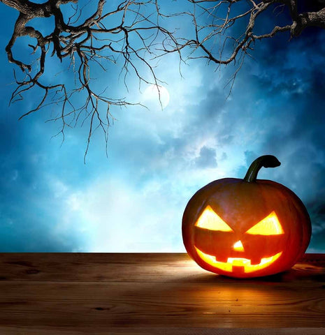 Halloween Pumpkin On Wood Floor With Clundy Night Backdrop Fror Photo - Shop Backdrop