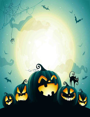 Halloween Pumpkins Under Moonlight For Holiday Photography Backdrop - Shop Backdrop