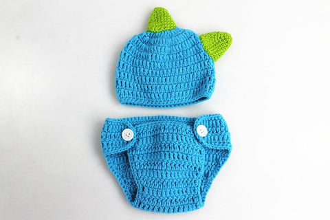Hand Knit Cotton Dinosaur Hats Shorts Suit Newborn Photo Prop