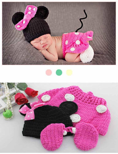 Hand Knit Cotton Wool Pink Mickey Suit Newborn Photo Prop