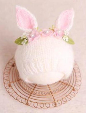 Hand-Knit Soft Line Rabbit Hat Newborn Photography Props