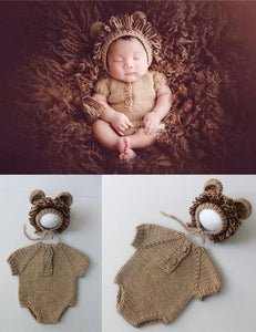 Hand-knit Sweater Lion Suit Newborn Photo Prop