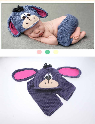 Hand Knitted Cotton Cartoon Burro Suit Newborn Photo Prop